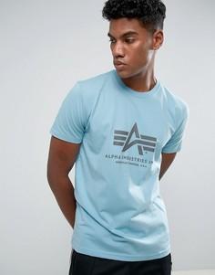 Синяя футболка классического кроя с логотипом Alpha Industries - Синий