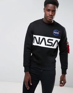 Черный свитшот с круглым вырезом Alpha Industries Nasa - Черный