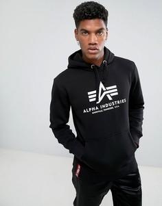 Худи черного цвета с логотипом Alpha Industries - Черный