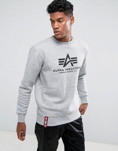 Серый меланжевый свитшот с круглым вырезом и логотипом Alpha Industries - Серый
