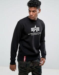 Черный свитшот с круглым вырезом и логотипом Alpha Industries - Черный