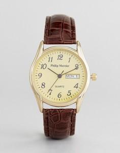 Часы с коричневым ремешком и золотистым циферблатом Philip Mercier - Коричневый