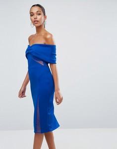 Облегающее платье миди с открытыми плечами ASOS - Синий