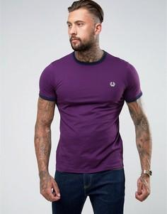 Фиолетовая футболка узкого кроя Fred Perry Sports Authentic Ringer - Фиолетовый