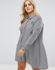 Платье-рубашка с брошью Boohoo Plus - Мульти