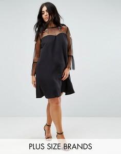 Платье с вырезом сердечком и сеткой с вышивкой Boohoo Plus - Черный