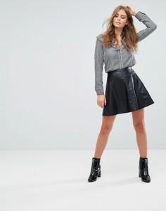 Короткая расклешенная юбка из полиуретана Deby Debo - Черный
