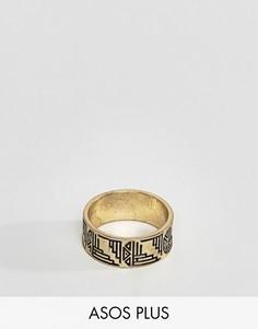 Золотистое кольцо с ацтекскими узорами ASOS PLUS - Золотой