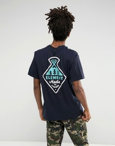 Темно-синяя футболка с принтом на спине Element Vertex - Темно-синий