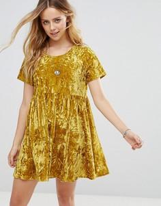 Свободное платье из мятого бархата Glamorous - Желтый