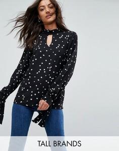 Блузка с завязками на манжетах и принтом звезд Glamorous Tall - Черный