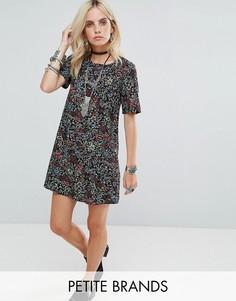 Чайное платье с цветочным принтом Glamorous Petite - Черный