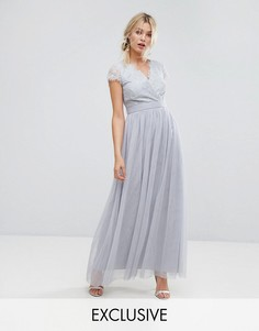 Платье макси с запахом и кружевной отделкой Little Mistress - Серый