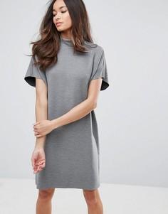 Платье-кокон с высоким воротником Selected Luisa - Серый