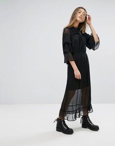 Длинное платье с кружевной отделкой Gestuz - Черный