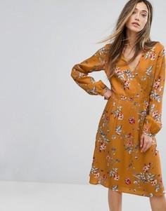 Платье с запахом и цветочным принтом Gestuz - Мульти