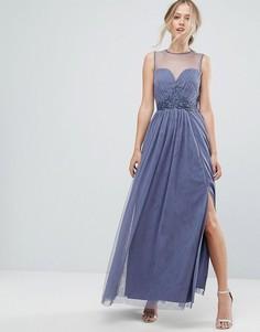 Сетчатое платье макси с вырезом в форме сердца и вышивкой Little Mistress - Фиолетовый