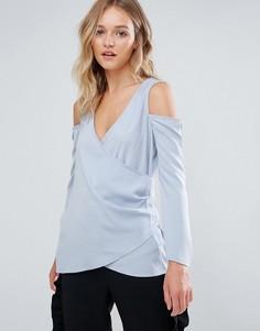 Блузка с запахом и открытыми плечами Neon Rose - Синий
