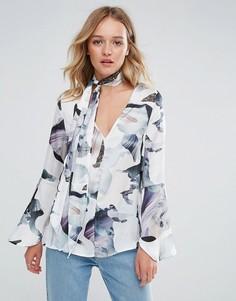 Блузка с завязкой на шее Neon Rose - Мульти