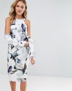 Платье миди с вырезами на плечах и принтом Neon Rose Elemental - Мульти