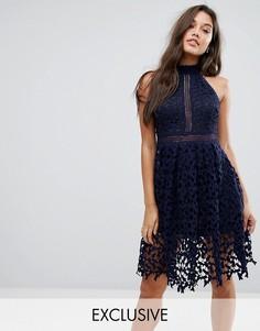 Кружевное платье для выпускного Love Triangle - Темно-синий