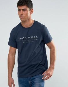 Темно-синяя футболка Jack Wills Westmore - Белый