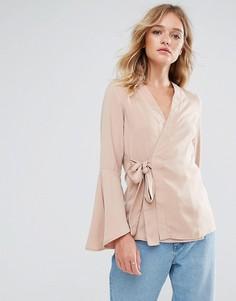 Блузка с рукавами клеш Neon Rose - Коричневый