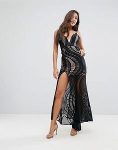 Кружевное платье макси с высоким разрезом сбоку Love Triangle - Черный