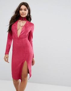 Облегающее платье миди с глубоким вырезом и чокером с завязкой Ginger Fizz - Розовый