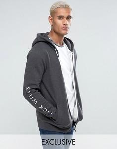 Серый худи на молнии с принтом на рукавах Jack Wills Granville - Серый