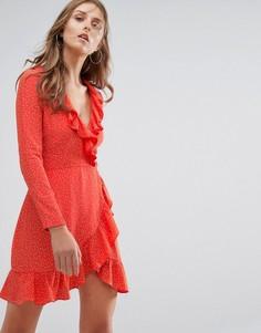 Платье в горошек с запахом и длинными рукавами Nobodys Child - Красный
