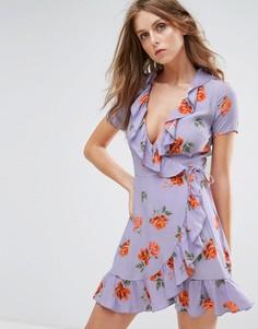 Платье с запахом и оборками Nobodys Child - Фиолетовый