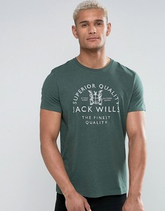 Зеленая футболка с принтом Jack Wills Westmore - Зеленый
