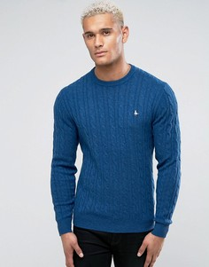 Синий джемпер вязки косами с круглым вырезом Jack Wills Marlow - Синий