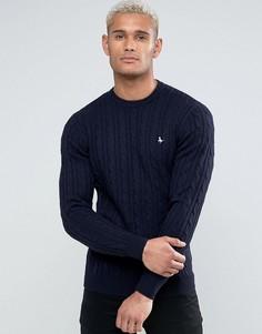 Темно-синий джемпер из мериносовой шерсти с узором в косичку и круглым вырезом Jack Wills Marlow - Темно-синий