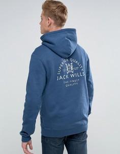 Худи синего цвета с принтом на спине Jack Wills - Синий