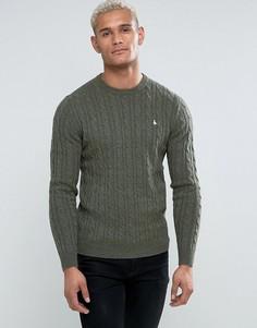 Джемпер из мериносовой шерсти оливкового цвета с узором в косичку и круглым вырезом Jack Wills Marlow - Зеленый