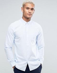 Голубая оксфордская рубашка классического кроя с полосками Jack Wills - Синий