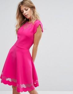 Платье с сетчатыми вставками и фактурной отделкой Ted Baker - Розовый