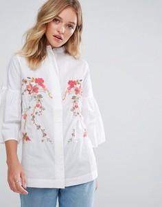 Рубашка с вышивкой Neon Rose - Белый