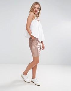 Мини-юбка с отделкой металлик Neon Rose - Золотой