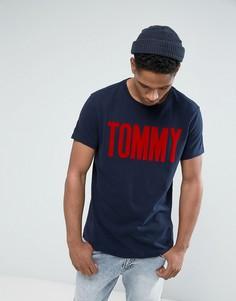 Темно-синяя футболка с бархатистым принтом Tommy Tommy Hilfiger Denim - Темно-синий