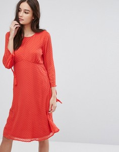 Сетчатое свободное платье в горошек Vila - Красный