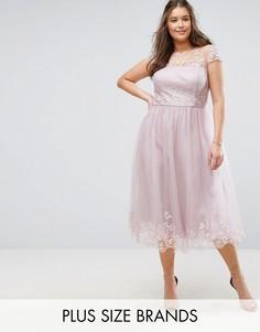 Платье миди для выпускного с отделкой Chi Chi London Plus Premium - Коричневый