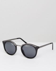 Солнцезащитные очки в круглой оправе Pieces - Черный