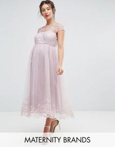 Платье миди для выпускного с кружевом Chi Chi London Maternity - Коричневый