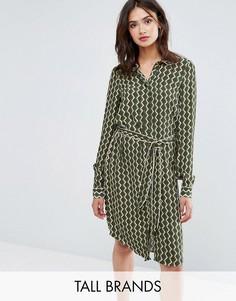 Платье-рубашка с длинными рукавами и геометрическим принтом Y.A.S Tall - Темно-синий