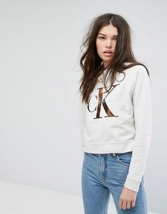 Свитшот с логотипом Calvin Klein Jeans - Кремовый