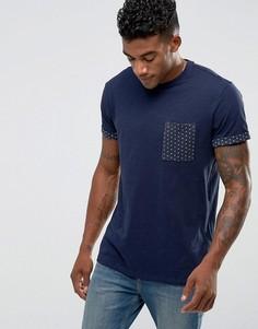 Темно-синяя футболка с принтом на кармане и рукавах New Look - Темно-синий