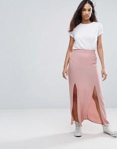 Юбка макси с разрезом спереди New Look - Розовый